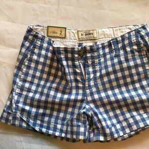"Old Navy Blue Gingham 3 1/2"" Cuffed Shorts"